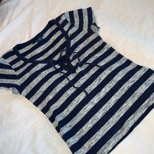 CASUAL STRIPED LACED UP TOP !!